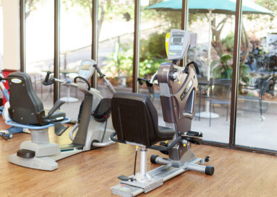 Room with exercise equipments facing waterfall