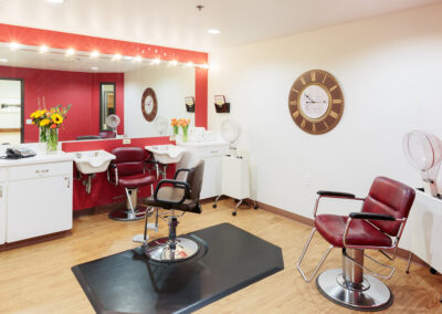 Salon room with chairs for hair cut and hair wash
