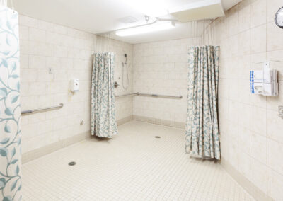Spacious clean shower with hand rails