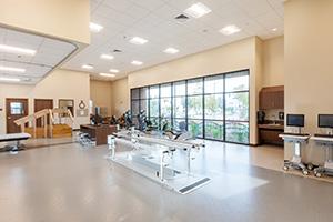 Clean, spacious rehabilitation gym.