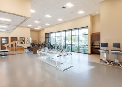 Gym with exercise machines