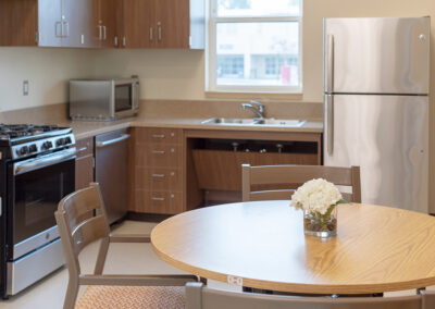Kitchen with round table and chairs