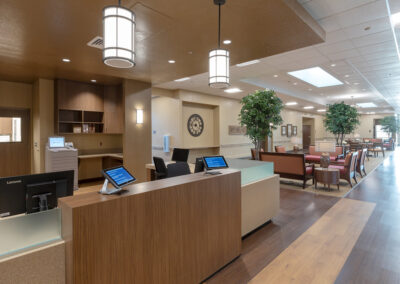 Lobby with iPads, tables, and chairs