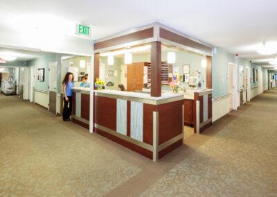 Hallway with a nurse station