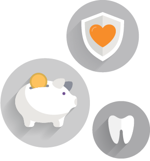 Icons of a piggy bank, a tooth, and a shield with a heart on it.