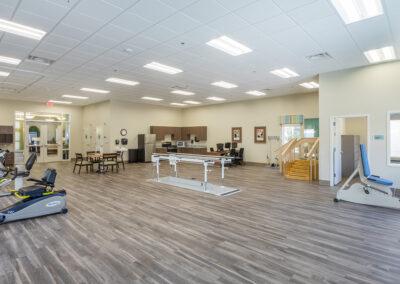 Clean, organized and spacious rehabilitation gym.