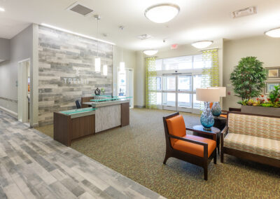 Entrance to the lobby with comfortable seating.
