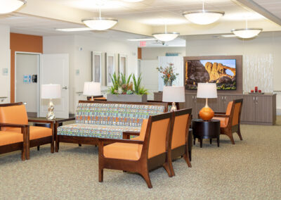 A hotel-style lobby with several options for seating.
