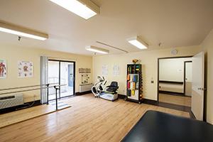The facility's rehab gym