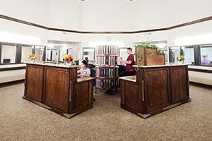 Desks inside the facility